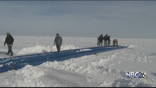 Ice bridges propped up on Lake Winnebago
