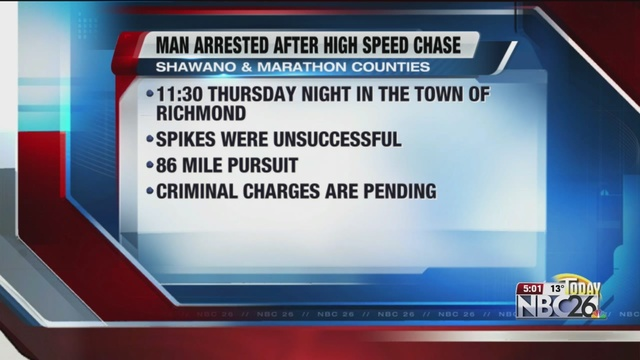 Man arrested after 86-mile-long chase