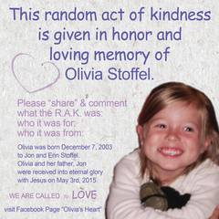 Acts of kindness in Olivia Stoffel's memory