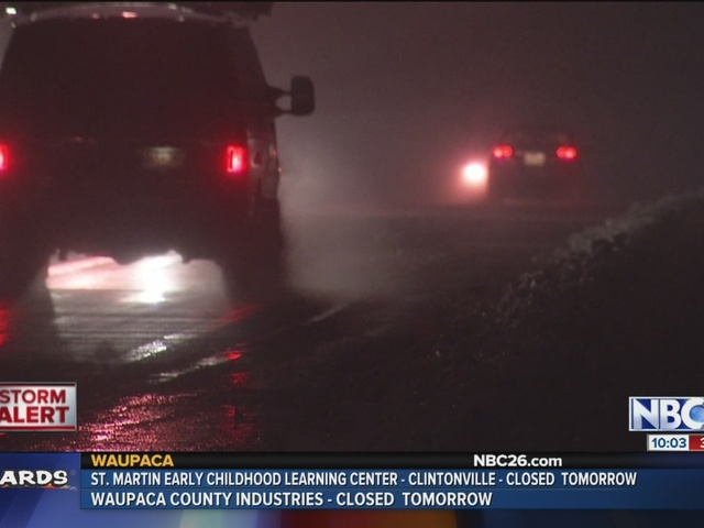 Freezing rain causing icy roads, dangerous driving conditions