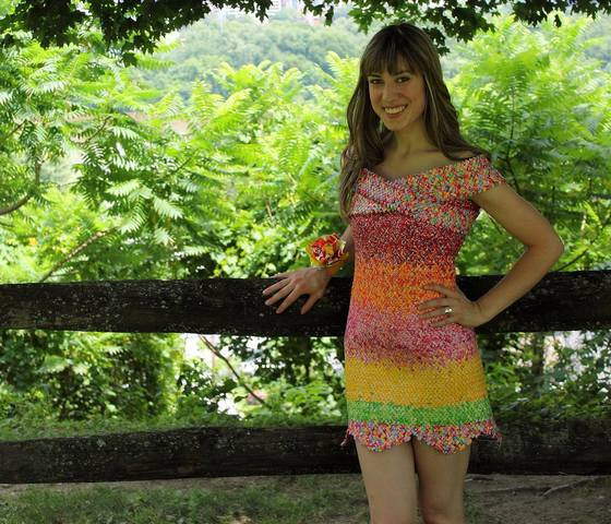 Woman makes dress out of 10000 Starburst candy wrappers
