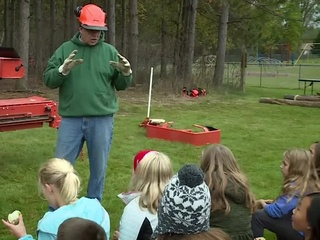 4th graders go outside for Log-a-Load adventure