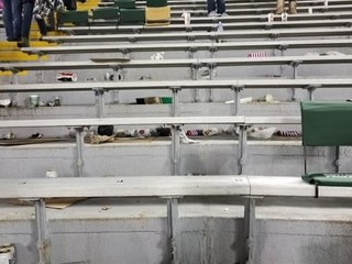 Trampled, discarded flags at Packers game
