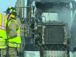 Semi-trailer catches fire in Denmark