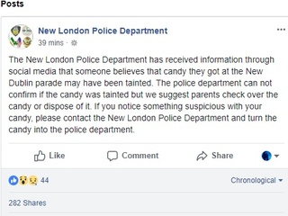 Police: Don't eat candy from New Dublin parade