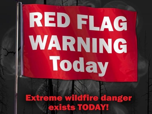 Red flag warning issued for area; no burning